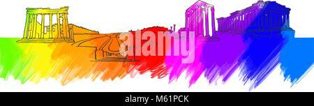 Athens Greece Colorful Landmark Banner. Beautiful hand drawn vector sketch. Travel illustration for social media - Stock Photo