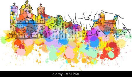 Podgorica Colorful Landmark Banner. Beautiful hand drawn vector sketch. Travel illustration for social media marketing - Stock Photo