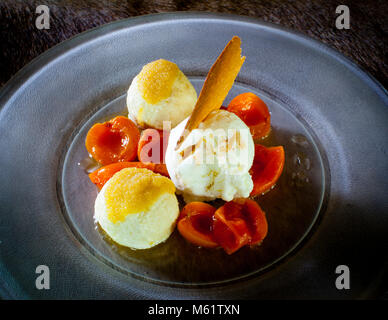 fine dining in Bavaria, Oberstdorf Restaurant Maximilinas Michelin Star chef dinner Tobias Eisele - Stock Photo