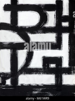 A Monochrome Abstract Painting, with Broken Brushstrokes - Stock Photo