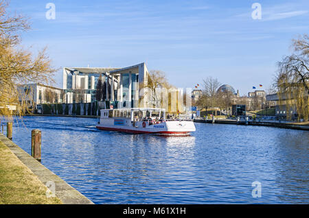 Berlin, Germany - February 23, 2018: City centre with the German Federal Chancellery, international trading center, - Stock Photo