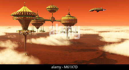 A Mars planet colony in the upper atmosphere orbits around the red planet as Earth scientists study it. - Stock Photo