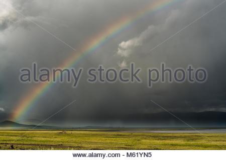 A rainbow captured inside the Ngorongoro crater. - Stock Photo