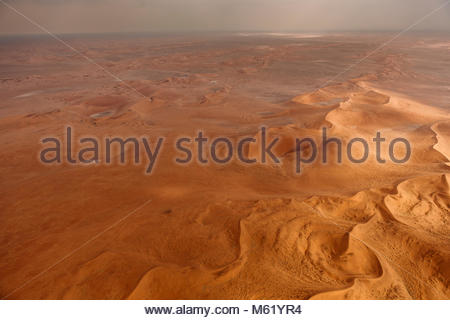 An aerial of the red sand dunes of the Namib Desert. - Stock Photo