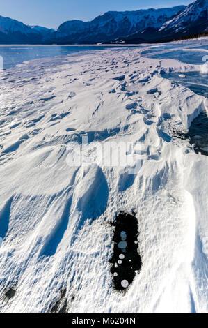 Abraham Lake Frozen Bubbles - Stock Photo