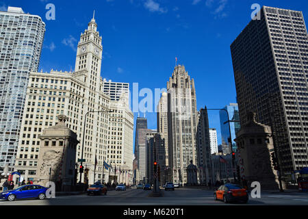 The view north up the iconic Magnificent Mile shopping district from the Michigan Avenue bridge in Chicago. - Stock Photo