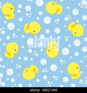 seamless pattern with cute baby rubber ducks on blue background, design for baby and child, can be used for invitations, - Stock Photo