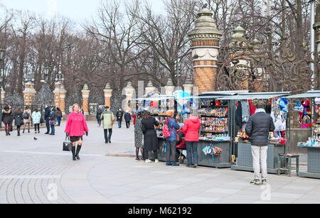 SAINT - PETERSBURG, RUSSIA - APRIL 8, 2016: People near open air souvenir shops next to The Church of the Resurrection - Stock Photo