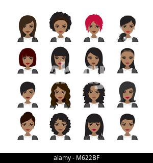 Vector Illustration of Black Women avatar. Faces and hair styles. Vector stock illustration - Stock Photo