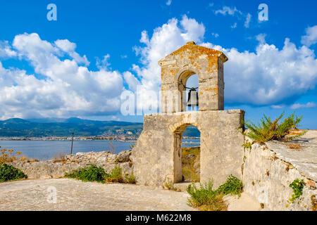 Lefkada Town as seen from the Lefkada Fortress Santa Maura - Agia Mavra tourist attraction near the island capital - Stock Photo