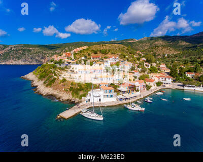 Aerial view of Assos Kephalonia fishing village  the most beautifull village on the island - Stock Photo