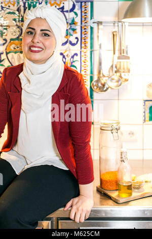 Malakeh Jazmati, Syrian TV-Star of a Cooking Show, cookbook author, refugee, living in exile in Berlin, Germany. - Stock Photo