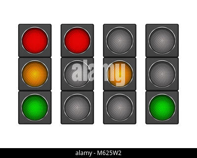 Set of 4 modern led traffic light with different sequence of switching-on red, yellow, green lights. - Stock Photo