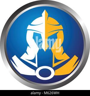 Helmet Warrior Logo Design Template Vector - Stock Photo