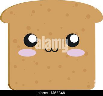 kawaii bread icon - Stock Photo