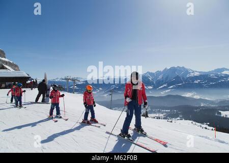 Ski School in Foppa in  Switzerland - Stock Photo
