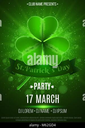 Flyer for a Happy Saint Patrick's Day party. Green flash of light. Abstract bokeh lights and glowing dust. Luminous - Stock Photo