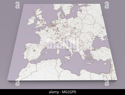 Street and political map of Europe and North Africa. European cities. Political map with the border of the states. - Stock Photo