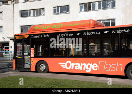 Royal Parade on Amada Way in Plymouth City Centre, Devon UK. A Orange Flash gas powered bus. Circa 2018 - Stock Photo