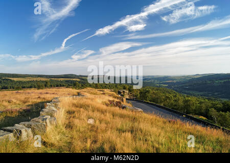 UK,Derbyshire,Peak District,Looking towards Padley Gorge from Surprise View, in late summer with Cirrus Cloud formation. - Stock Photo