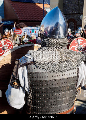 Fun, fighting and education at the Sheringham Viking Festival on 17th February 2018 with re-enactor groups Wuffa - Stock Photo