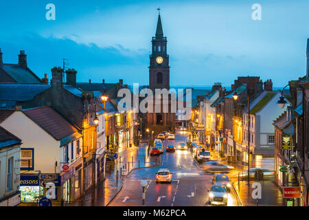 Berwick upon Tweed England, view at night of the Town Hall in Marygate in the centre of Berwick upon Tweed, Northumberland, - Stock Photo