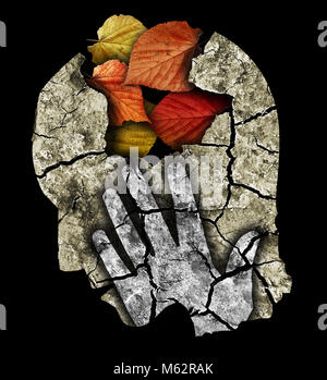 Dementia depression Alzheimers disease. Stylized male head silhouette holding his head.Photo-montage with Dry cracked - Stock Photo