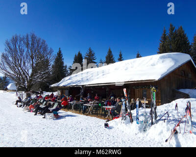 General view of Les Chevrelles restaurant at the Mont Caly ski de fond area in the Les Gets ski resort in the Portes - Stock Photo