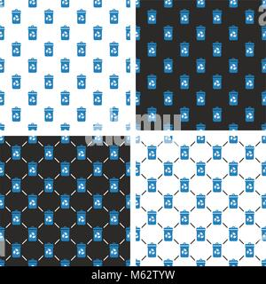 Blue Recycling Trash Can for Paper Waste Seamless Pattern Set - Stock Photo