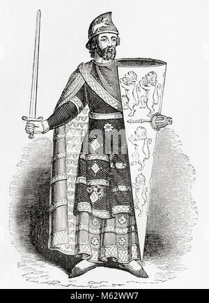 Geoffrey V, 1113 –1151,  called the Handsome or the Fair and Plantagenet.  Count of Anjou, Touraine, and Maine, - Stock Photo