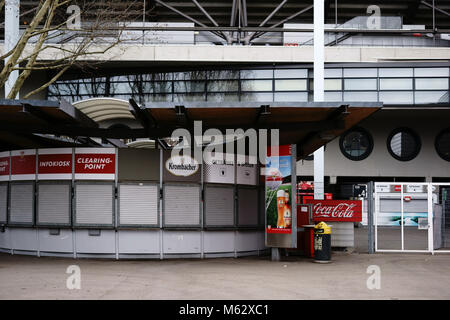 Stuttgart, Germany - February 03, 2018: Food and beverage kiosks at the entrance to the Mercedes-Benz Arena on February - Stock Photo
