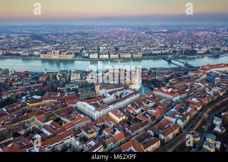Budapest, Hungary - Aerial skyline view of Castle District with the famous Matthias Church, Fisherman's Bastion, - Stock Photo