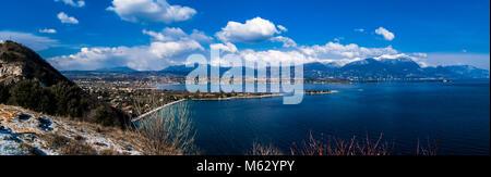 Panoramic view of lake Garda from Manerba - Stock Photo