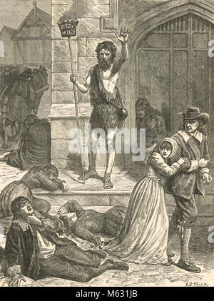 The Great Plague of 1665, the Enthusiast Denouncing London.  A Maniac preaching to the dead and dying in the street - Stock Photo