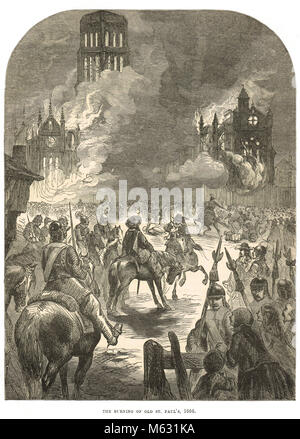 Old St Paul's Cathedral on fire, Great Fire of London, September 1666 - Stock Photo