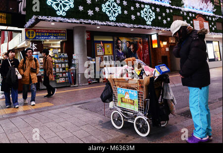 The busy commercial center in Tenjin, Fukuoka, Japan. - Stock Photo