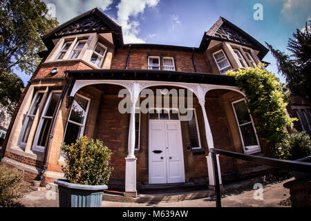 Large Victorian red brick detached house in Oxford, UK - Stock Photo