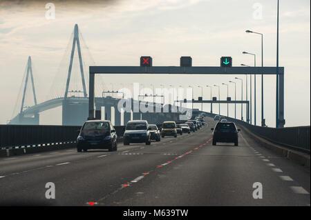 Saint Nazaire, bridge over the Loire estuary. France. - Stock Photo