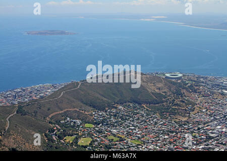 View of Signal Hill, Cape Town Stadium and Robben Island from the top of Table Mountain, Cape Town, Western Cape, - Stock Photo