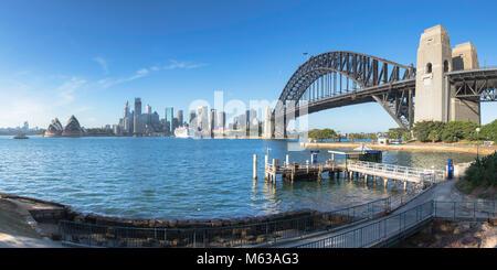 Sydney Harbour Bridge and skyline, Sydney, New South Wales, Australia - Stock Photo