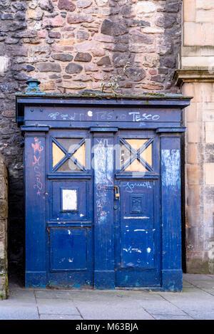 Old Dr. Who style police box in Edinburgh. Scotland. - Stock Photo