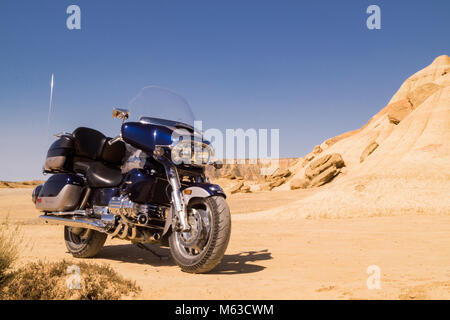 Motorcycle on a desert - american dream - Stock Photo