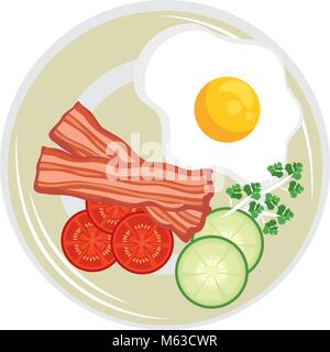 eggs with bacon breakfast design vector illustration - Stock Photo