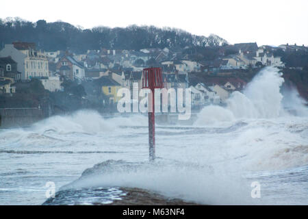 Dawlish, Devon, UK. 28th February, 2018. Stormy conditions caused by the so called 'Beast From The East' batters - Stock Photo