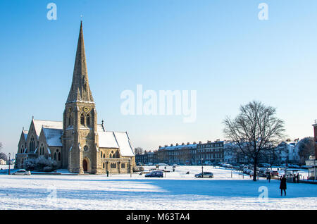 Blackheath. 27th Feb, 2018. UK Weather: All Saints church at Blackheath, London, during the cold spell in late February/early - Stock Photo