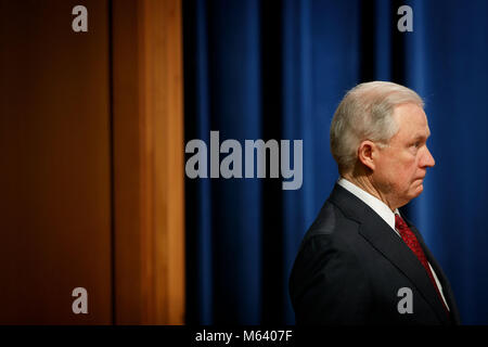 Washington, USA. 27th Feb, 2018. U.S. Attorney General Jeff Sessions leaves after a press conference regarding new - Stock Photo