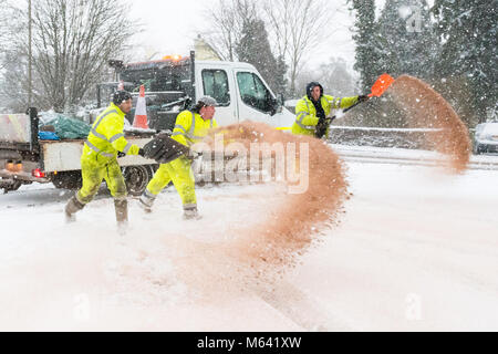 Beast from the East -  Stirling council workers spreading grit outside the doctors surgery in Killearn, Stirlingshire - Stock Photo
