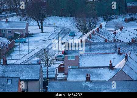 Flintshire, Wales, UK Weather:  The Beast form the East continues to wreak havoc in many areas in the UK with snow - Stock Photo