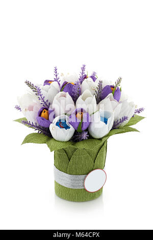 Paper Tulips on white background isolated - Stock Photo