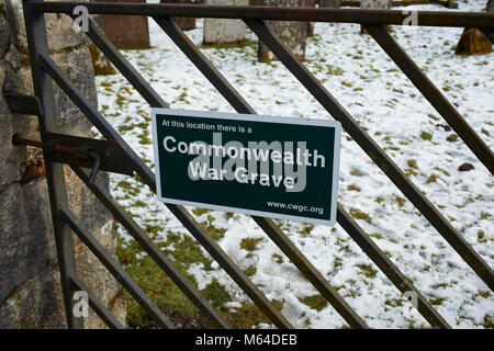 A Commonwealth War Grave notice at Westerkirk Graveyard near Bentpath, Dumfries and Galloway - Stock Photo